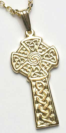 yellow gold embossed celtic cross
