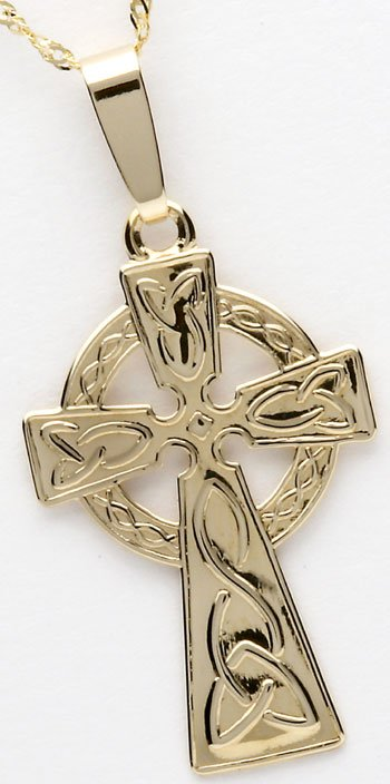 10k Yellow Gold Embossed Celtic Cross