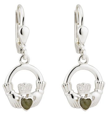 Silver Claddagh Marble Earrings