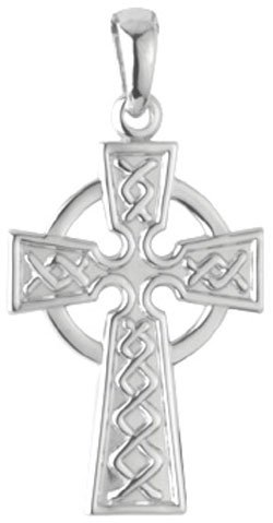 14k White Gold Celtic Cross
