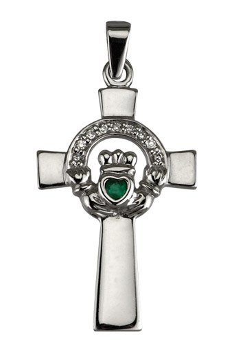 14k White Gold Open Claddagh Cross with Emerald and Diamond Setting