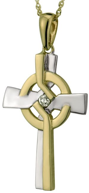 14k Two Tone Gold Diamond Celtic Cross