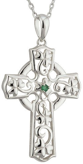 Sterling Silver Emerald Shamrock Celtic Cross