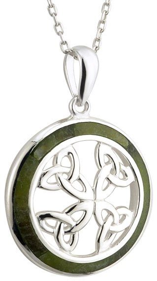 Sterling Silver Connemara Marble Trinity Knot Pendant