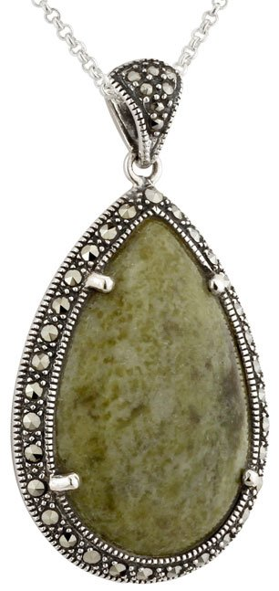 Sterling Silver Teardrop Connemara Marble and Marcasite Pendant