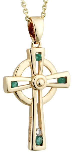 Emerald and Diamond Gold Celtic Cross
