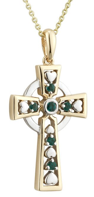Emerald Heart Gold Celtic Cross