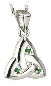 Gold Emerald Trinity Knot Pendant