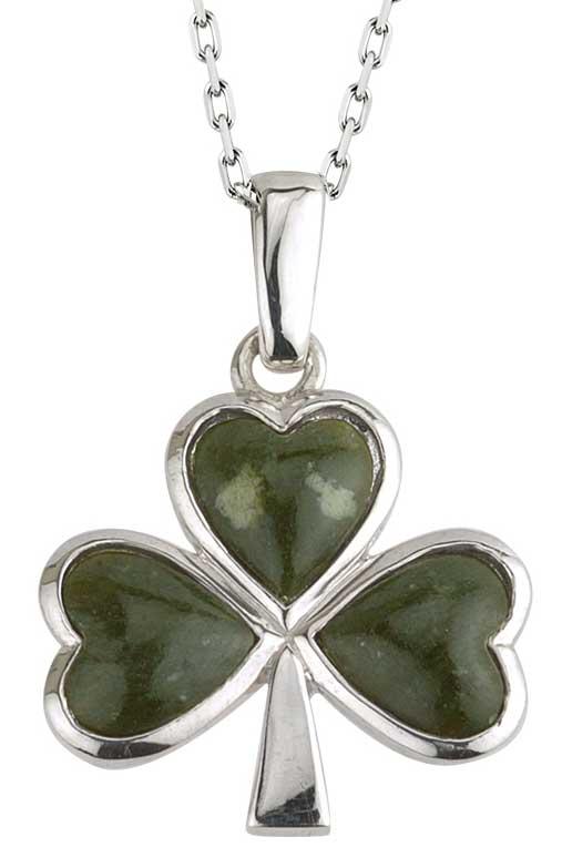 Silver Connemara Marble Shamrock Pendant