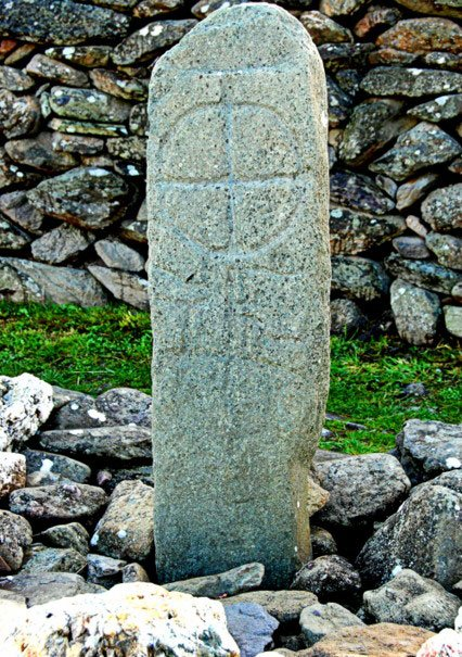 Early Carved Celtic Cross at Gallarus, Co. Kerry.
