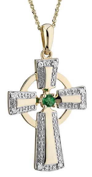 10K Gold Diamond and Emerald Celtic Cross Pendant