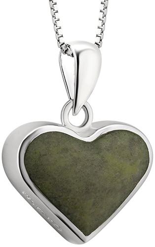 Silver Connemara Marble Heart Necklace