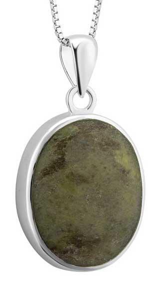 Silver Oval Connemara Marble Pendant